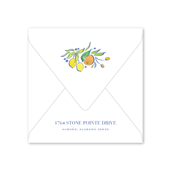 Citrus Wreath Bridal Brunch Envelopes