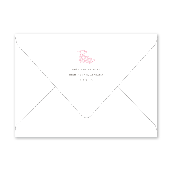 Little Lamb Pink Birth Announcement Envelopes