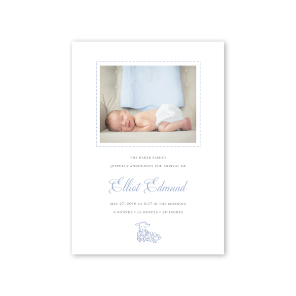 Little Lamb Blue Birth Announcement