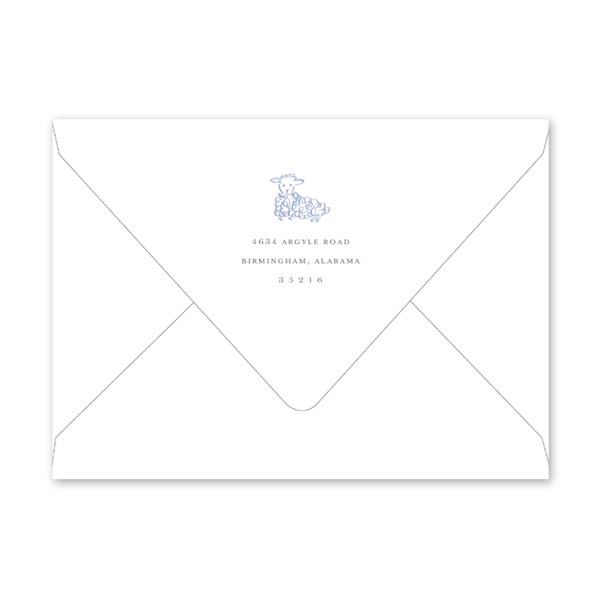 Little Lamb Blue Birth Announcement Envelopes