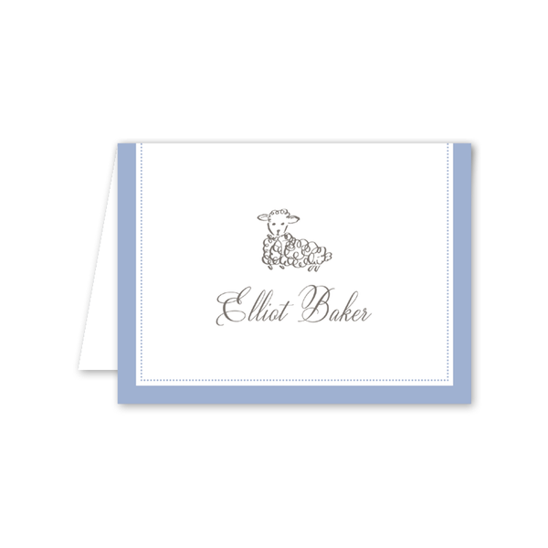 Little Lamb Blue Notecard