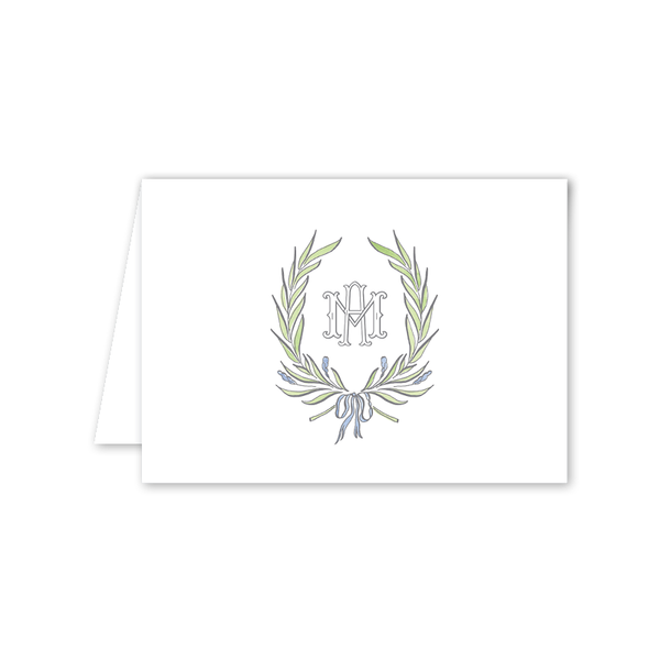 Alexandra Wreath Monogram Folded Notecard