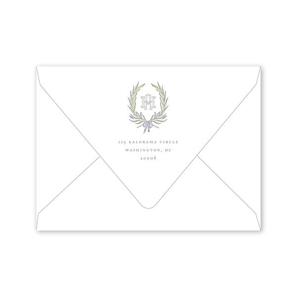 Alexandra Wreath Photo Save the Date Envelopes