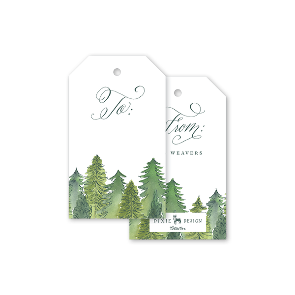 Alpine Holiday Script Gift Tags