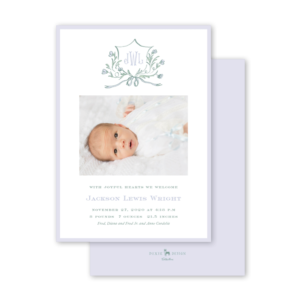 Avonlea Periwinkle Birth Announcement