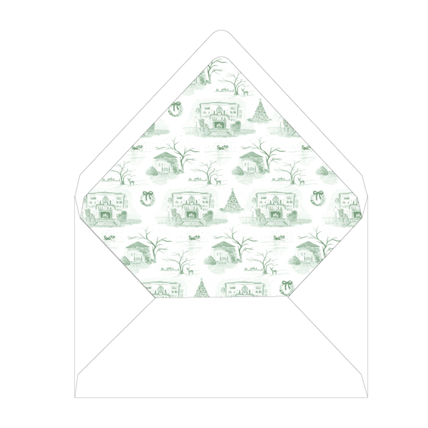 Christmas Toile Green Fireplace Invitation Liner