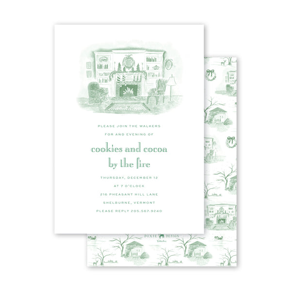 Christmas Toile Green Fireplace Invitation