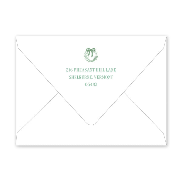 Christmas Toile Green Fireplace Invitation Envelopes