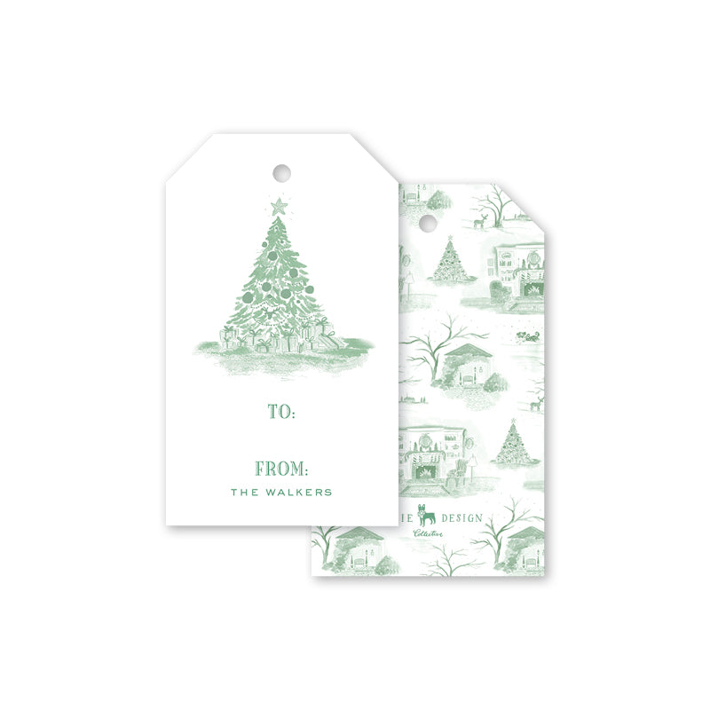 Christmas Toile Green Gift Tags