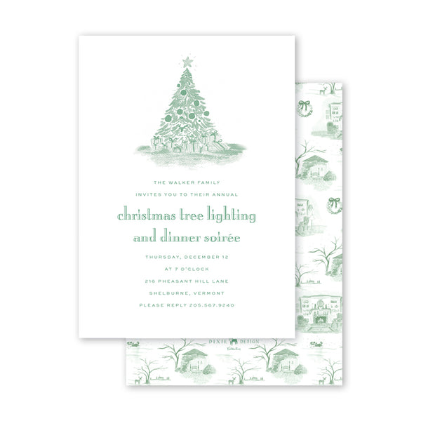 Christmas Toile Green Invitation