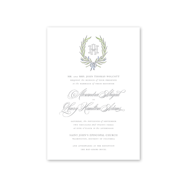 Alexandra Crest Wedding Invitation