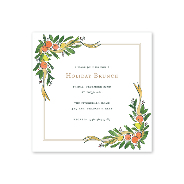 Colonial Citrus Gold Invitation