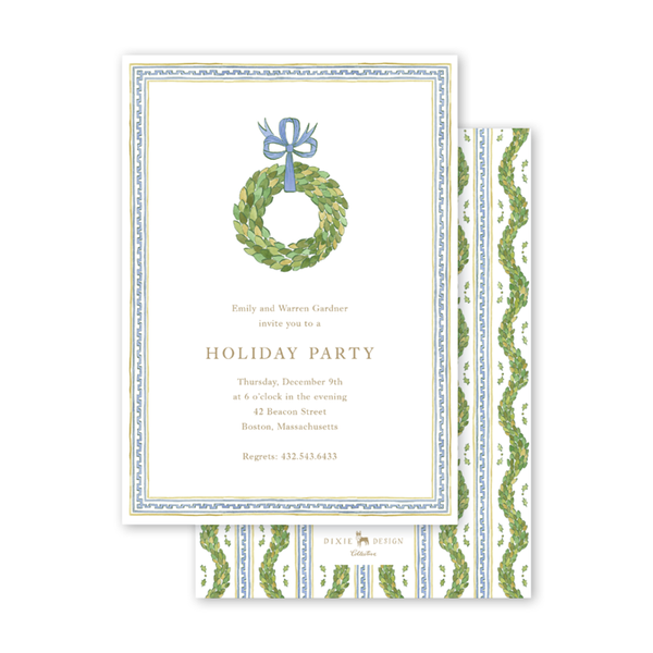 Holiday Trimmings Wreath Invitation