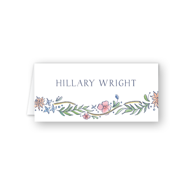 Newport Watercolor Floral Place Card