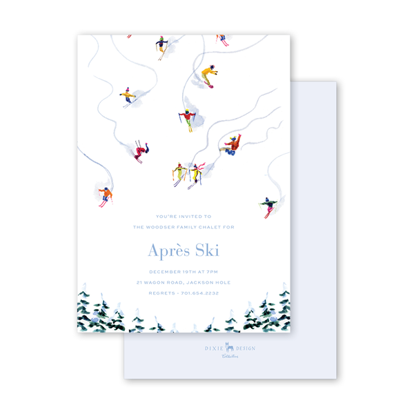 Alpine Ski Snow Invitation