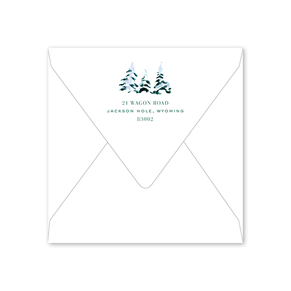 Alpine Ski Snow Square Invitation Envelopes