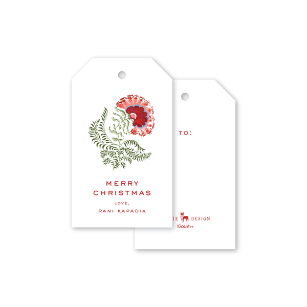 Southampton Blockprint Poinsettia Gift Tags