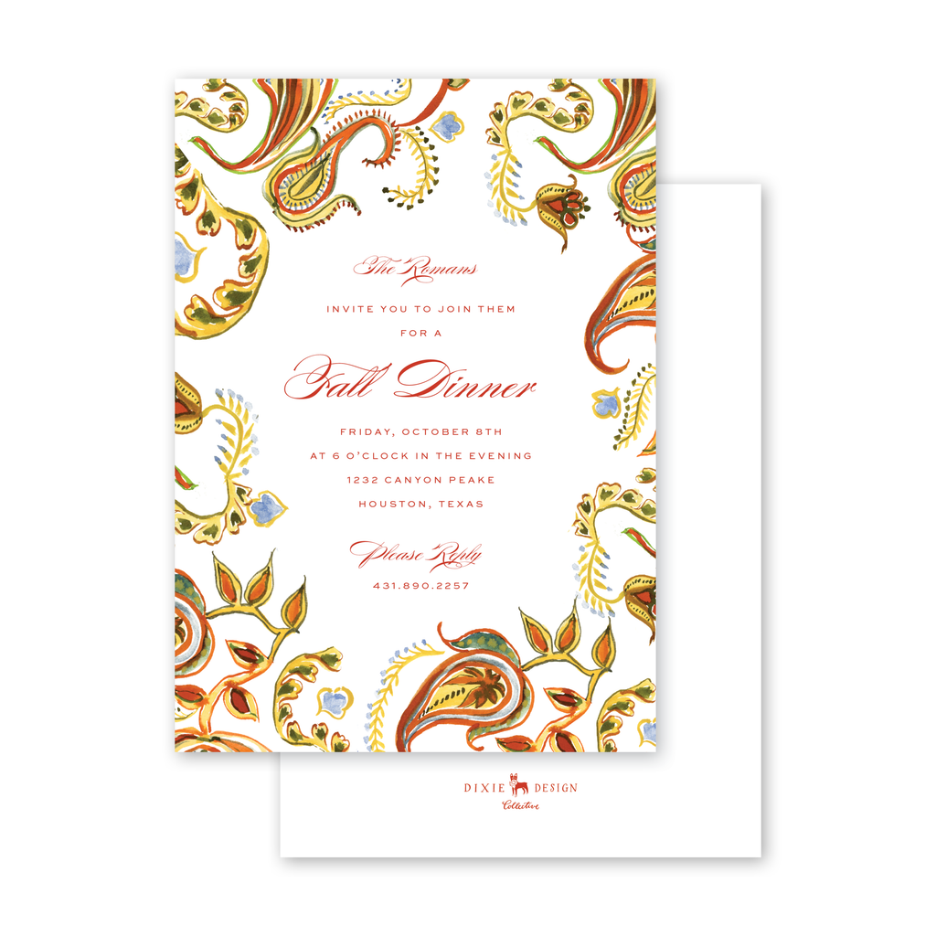 Autumn Paisley Invitation