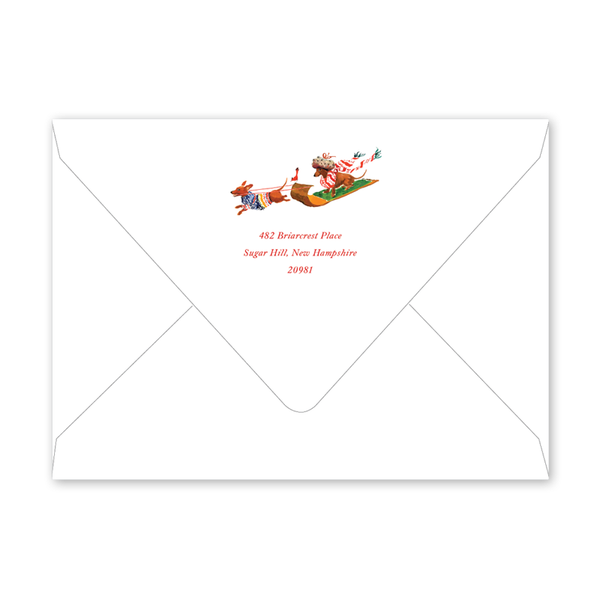 Doxie Sleigh Birthday Envelopes