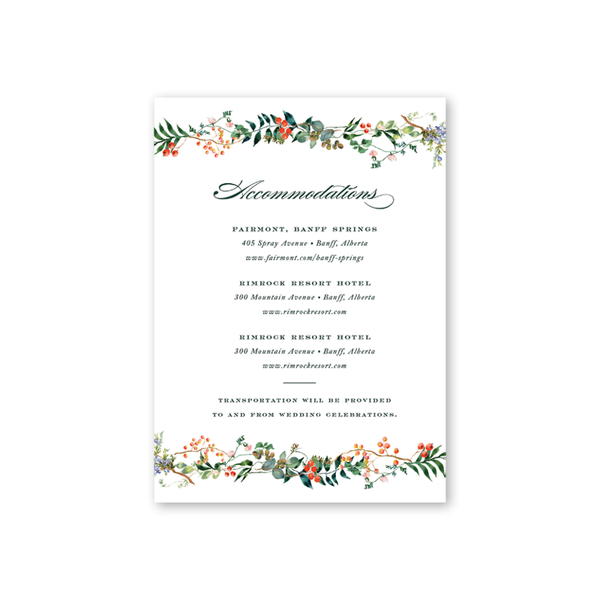 Winterberry Accommodations Card