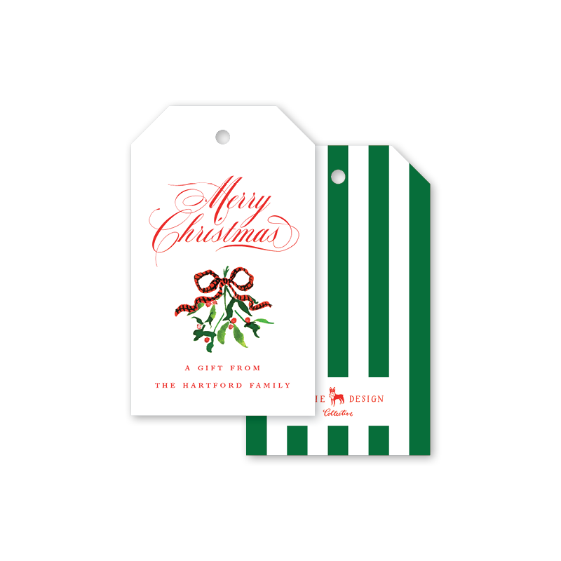Mistletoe Dog Ribbon Gift Tags