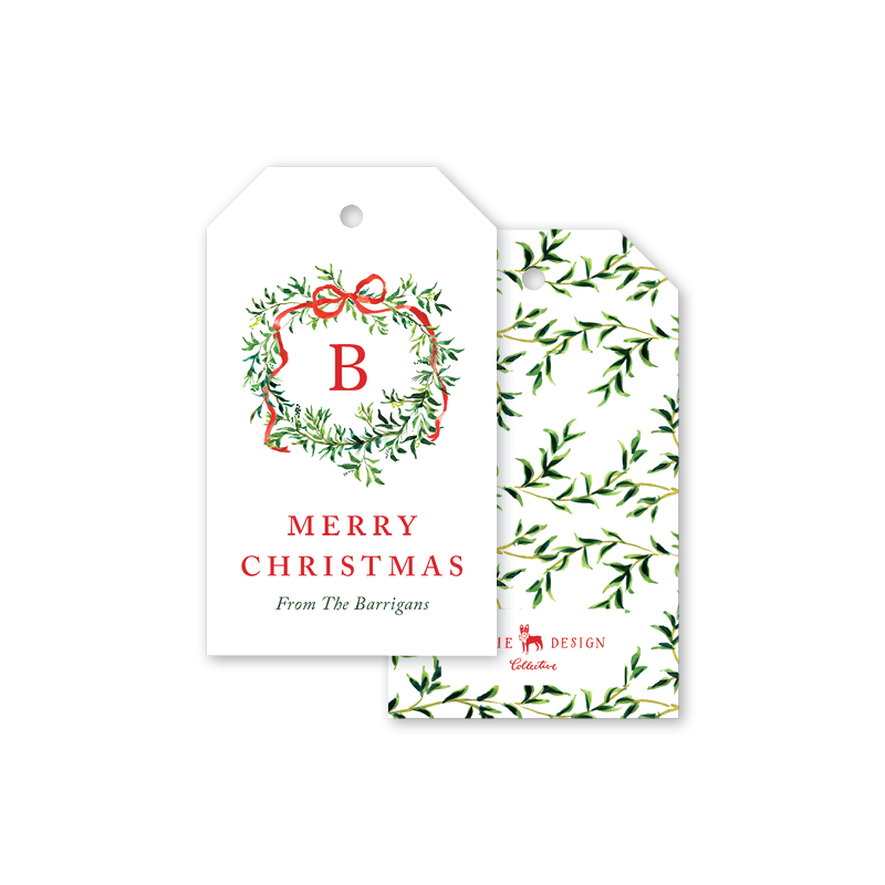 Vine and Bow Wreath Gift Tags