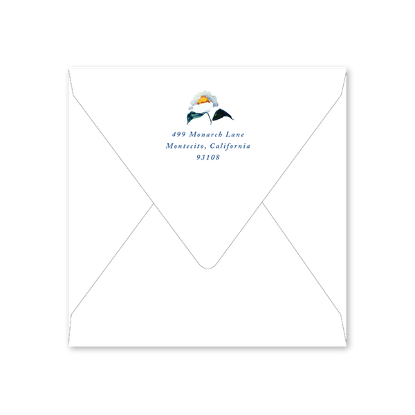 Winter Citrus Blue and White Invitation Envelopes