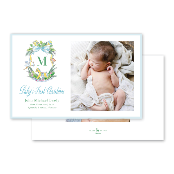 Baby Christmas Crest Blue Initial