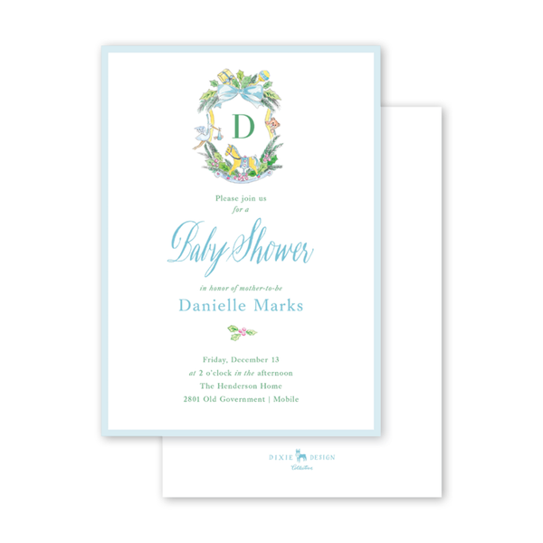 Baby Christmas Crest Blue Initial Baby Shower