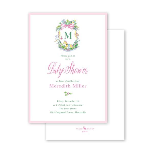 Baby Christmas Crest Pink Initial Baby Shower