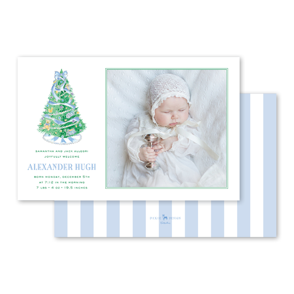 Baby's First Christmas Blue Birth Announcement