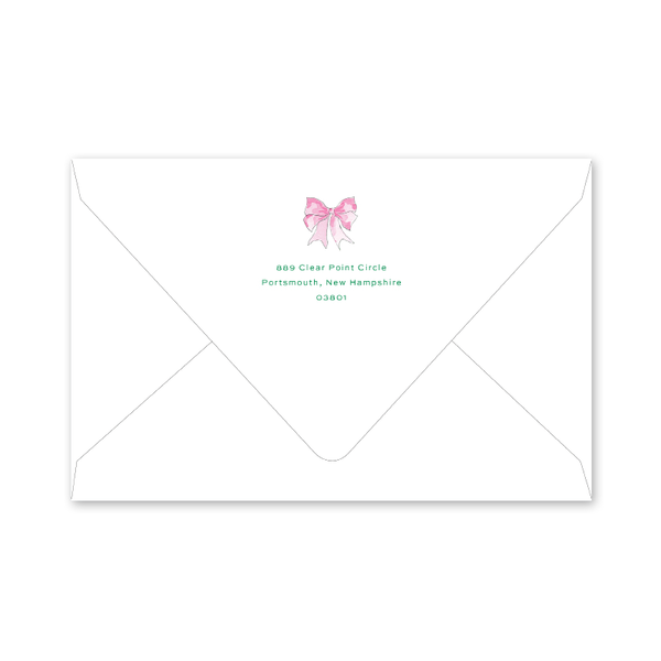 Baby's First Christmas Pink Birth Announcement Envelopes