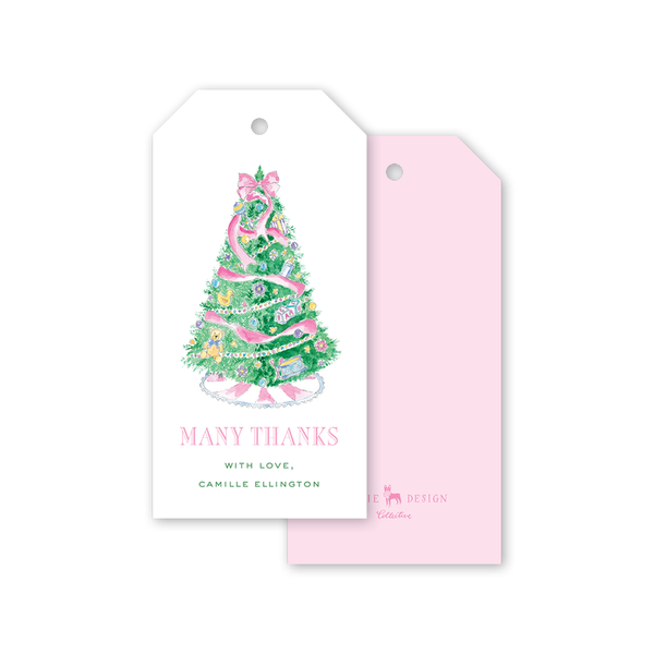Baby's First Christmas Pink Thank You Gift Tags
