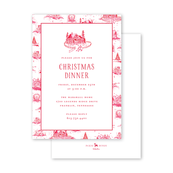 Country Toile Red Border Invitation