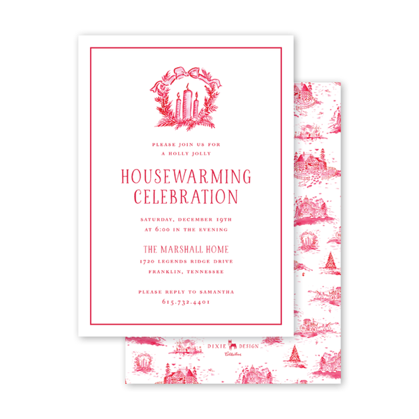 Country Toile Red Invitation