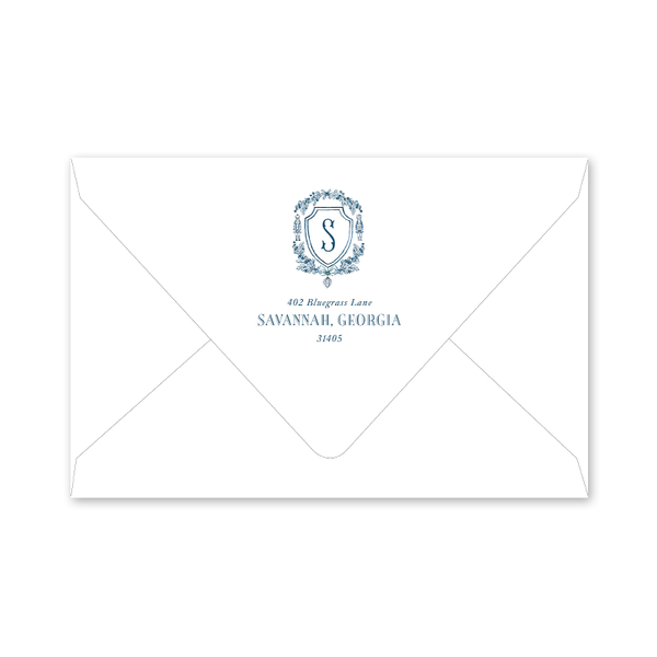 Nutcracker Crest Blue Initial Landscape Envelopes