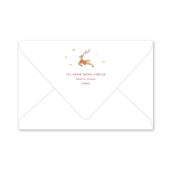 Reindeer Wreath Monogram Envelopes