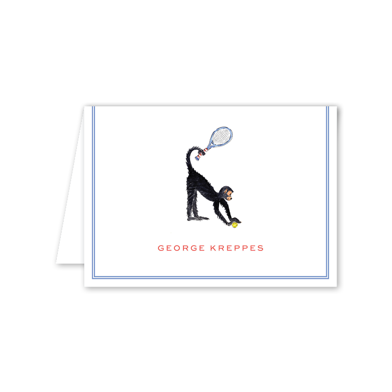 Tennis Monkey Blue Folded Notecard