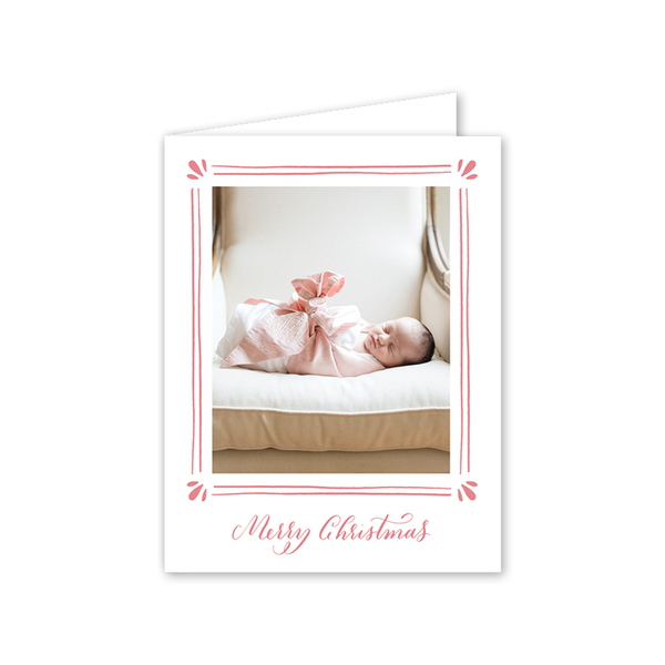 Precious Gift Pink Folded Christmas Birth Announcement