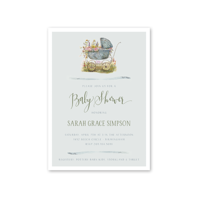 Baby Carriage Green Shower