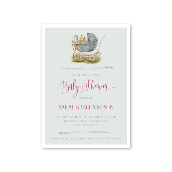 Unique baby shower invitation cards for boys and girls baby carriage pink shower filmwisefo