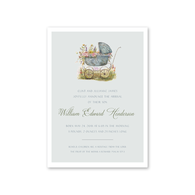 Baby Carriage Green Birth Announcement