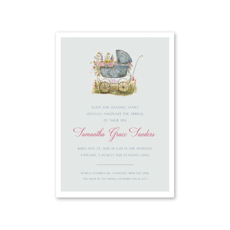 Baby Carriage Pink Birth Announcement