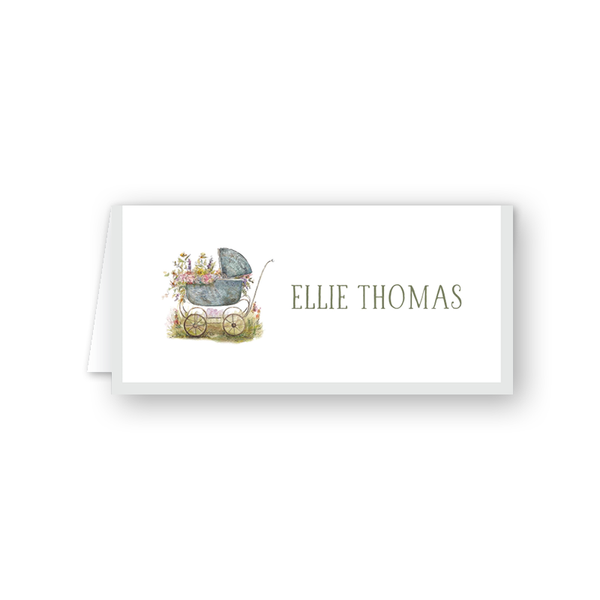 Baby Carriage Green Place Card