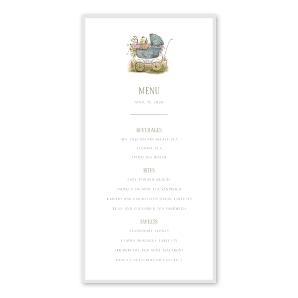 Baby Carriage Green Menu