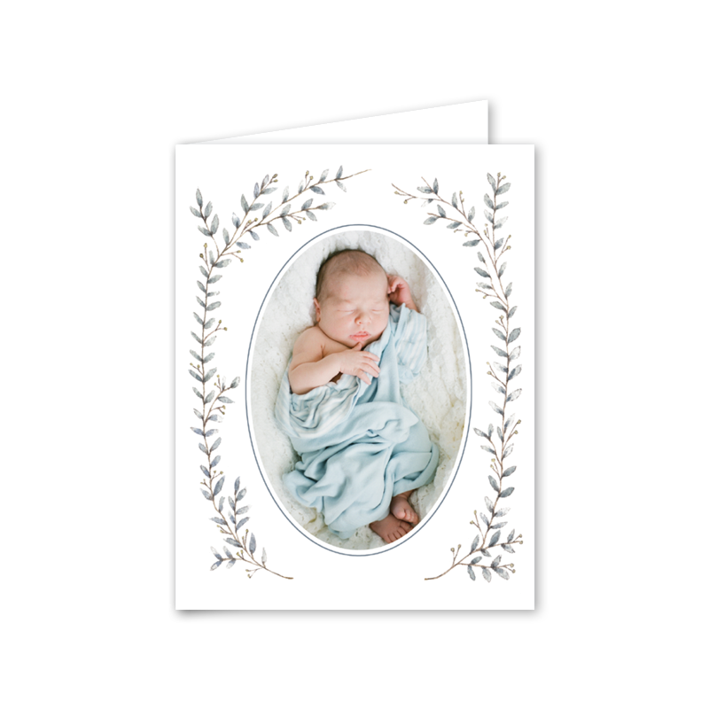 Blue Border Birth Announcement