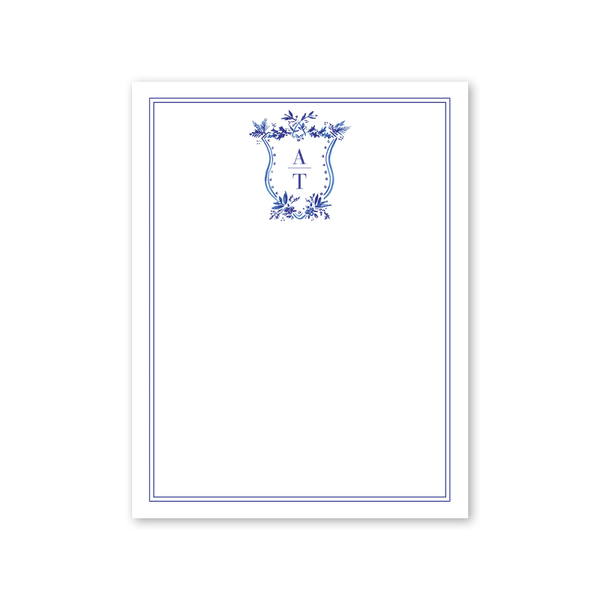 Blue Toile Crest Notepad