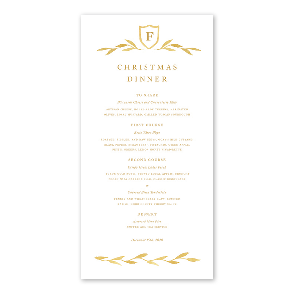 Gold Filigree Menu