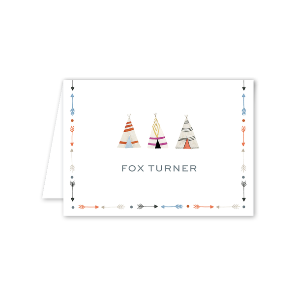 Fun Border Teepee Folded Notecard