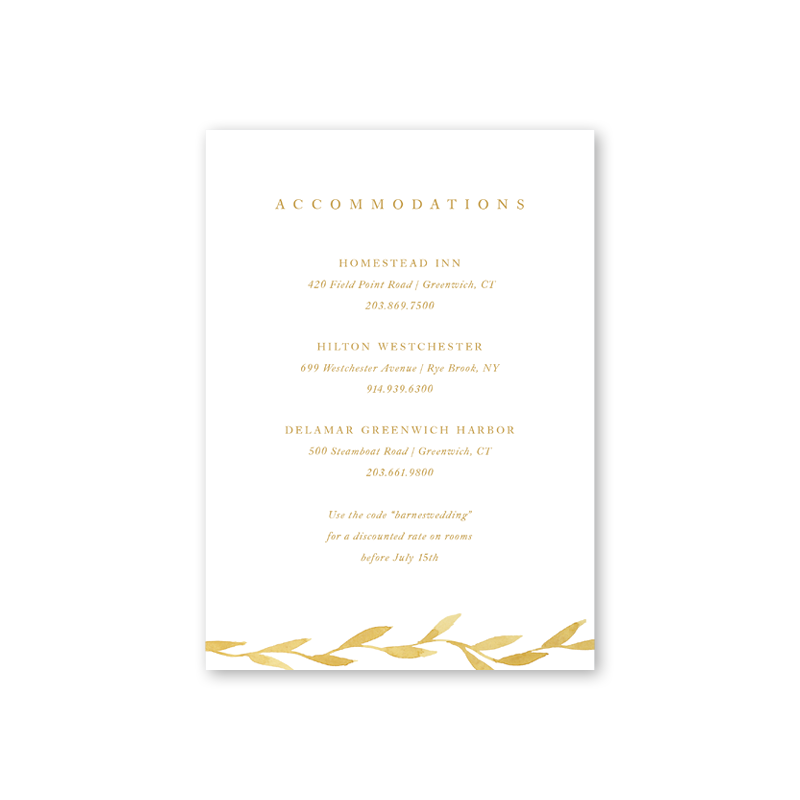 Filigree Accommodations Card